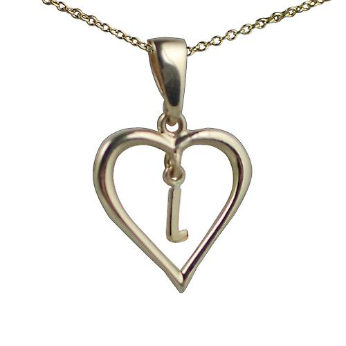 9ct Gold 18x18mm initial L in a heart Pendant with a cable Chain 16 inches Only Suitable for Children