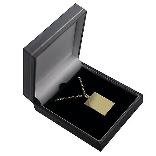 9ct Gold 25x18mm plain Rectangular Disc with a Belcher chain