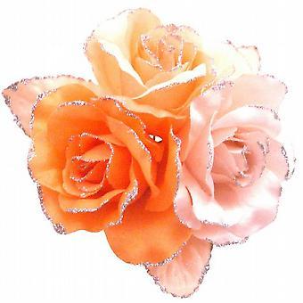 Satin Creation Brosche Orange Rosa Pfirsich wunderschönen Kleid Blumenbrosche