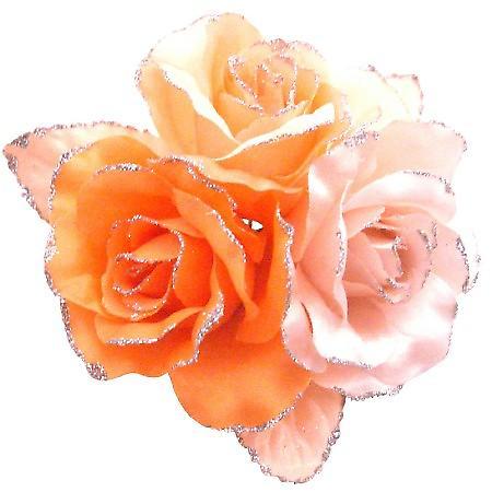 Satin Flower Creation Brooch Orange Pink Peach Gorgeous Dress Brooch
