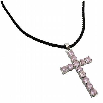 Black Leather Cord Necklace w/ Pink Crystals Cross Pendant