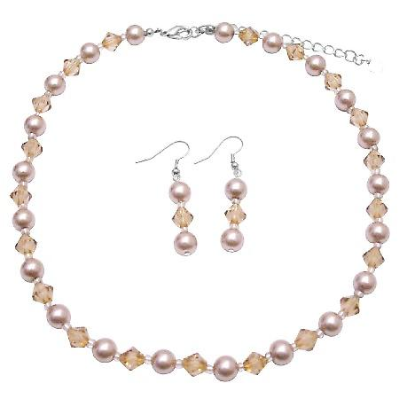 Inexpensive Jewelry Set Champagne Pearls & Colorado Crystals