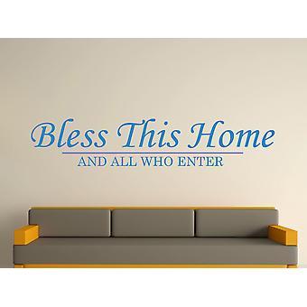 Velsigne dette hjem væg kunst klistermærke - olympiske blå