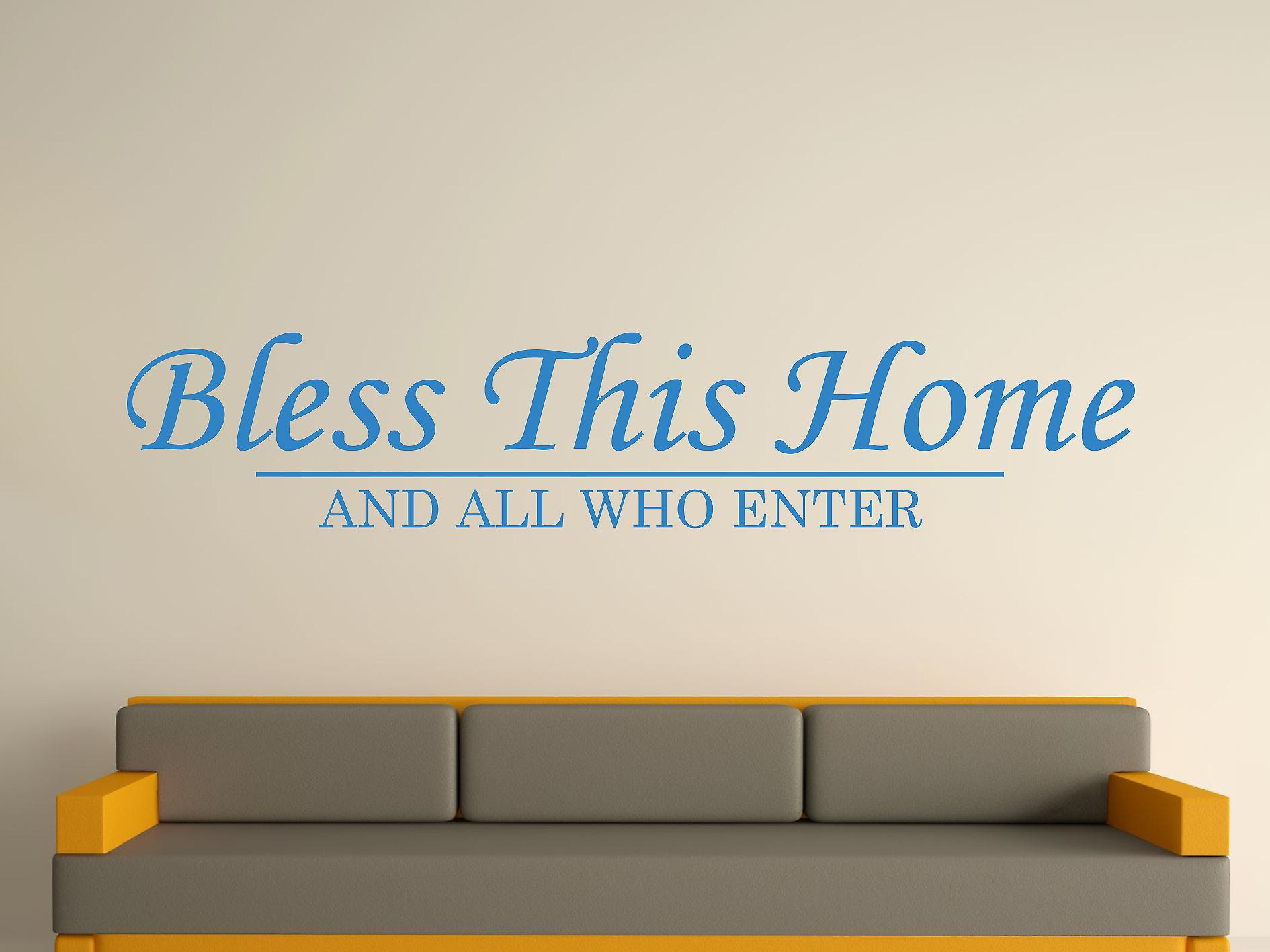 Bless This Home Wall Art Sticker - Olympic Blue