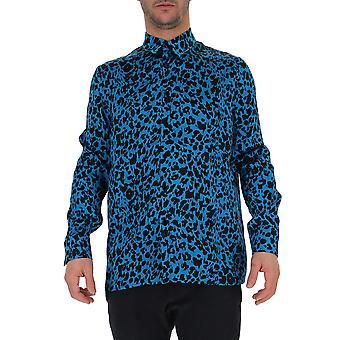 Laneus Light Blue/black Silk Shirt