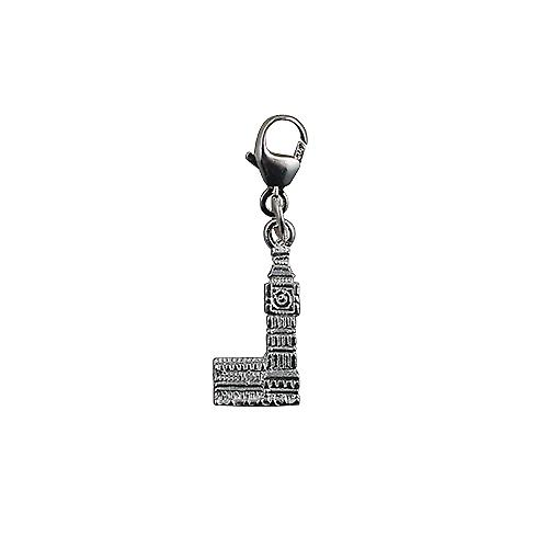 Silver 15x8mm Big Ben Charm on a lobster trigger