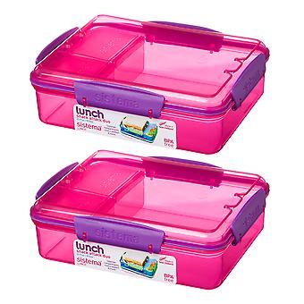 Sistema Set of 2 Snack Attack Duo Boxes 975ml, Pink