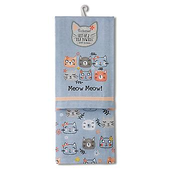 Cooksmart Pack of 2 Tea Towels, Meow Meow