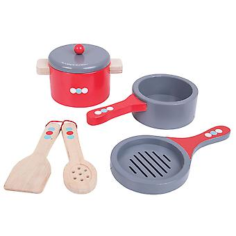Bigjigs Toys Wooden Cooking Pans Set with Spoon Spatula Role Play Kitchen