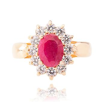 Ah! Jewellery Genuine Precious Ruby Stone Ring. Gold Filled, Stamped GL