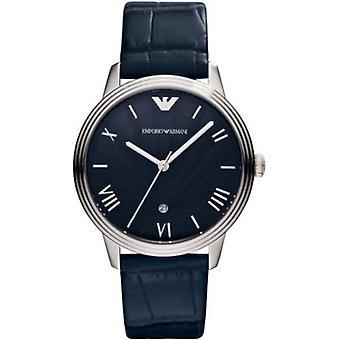 Emporio Armani Ar1651 Blue Dino Men's Leather Strap Watch