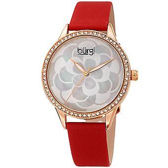 Burgi Women's BUR209 Swarovski Crystal Diamond Sparkle Leather Watch BUR203RDR