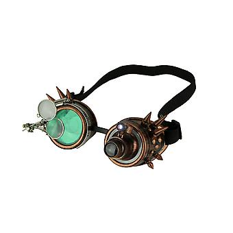 Retro-LED Light Up Steampunk-Boggles mit Green/Smoke Lens und Ocular Loupes