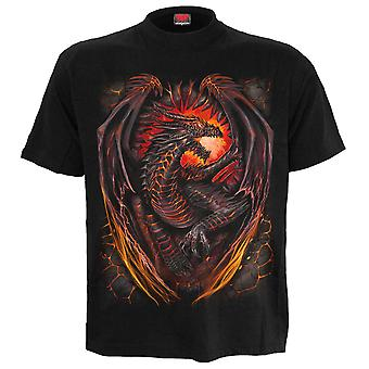Spiral Direct Gothic DRAGON FURNACE - T-Shirt Black Plus Size|Dragon|Wings|Flames