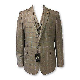 Guide London 3 piece suit in brown/blue check