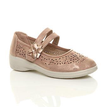 Ajvani Женская Плоский сцепление единственным мягкая мягкая Мэри Джейн крюк & цикла обувь комфорт