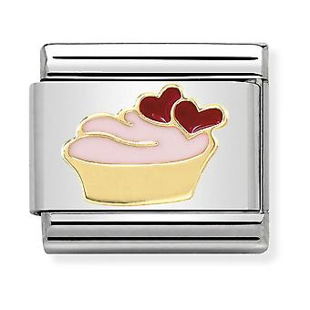Nomination Classic Muffin Steel, Enamel and 18k Gold Link Charm 030285/02