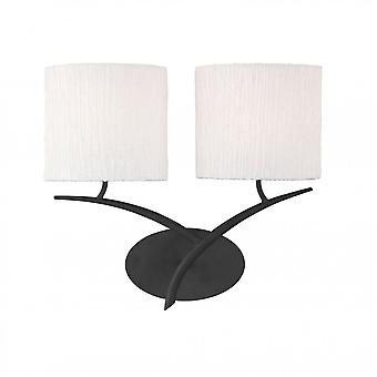 Mantra Eve Wall Lamp 2 Light E27, Antracite With White Oval Shades