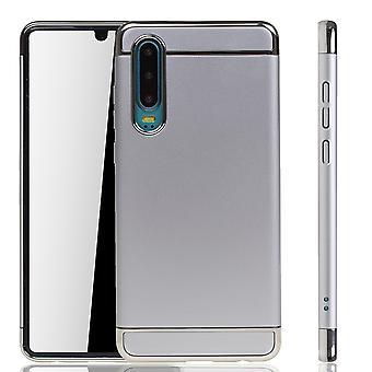 Huawei P30 Handy Hülle Schutz Case Bumper Hard Cover Silber