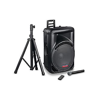 Mac audio PA 1500, active high power 2-way PA loudspeakers with wireless microphone, tripod, Bluetooth & USB
