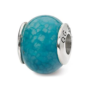 925 Sterling hopea kiillotettu antiikki viimeistely heijastukset tumma sininen säröillä akaatti kivi helmi charmia