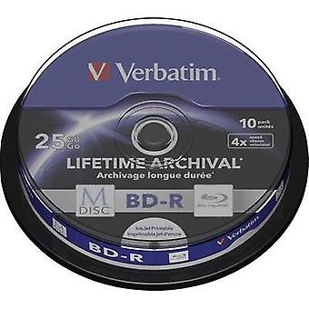 Blank M-Disc Blu-ray DVD 25 GB Verbatim 43825 10 pc(s) Spindle Printable