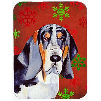 Basset Hound Red and Green Snowflakes Christmas Glass Cutting Board Large