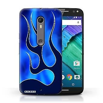 STUFF4 Case/Cover for Motorola Moto X Style/Blue/Navy/Flame Paint Job