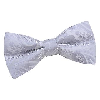Silver Paisley Patterned Bow Tie