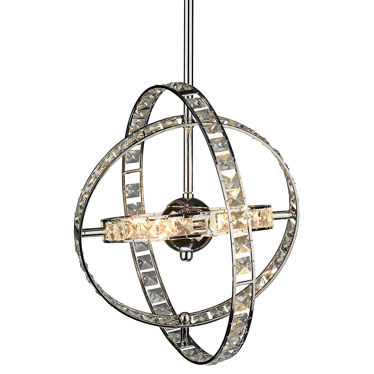 Dar ETE0650 Eternity Modern 6 Light Crystal Ceiling Pendant - 65cm