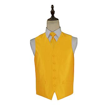Sunflower Gold Solid Check Wedding Waistcoat & Tie Set