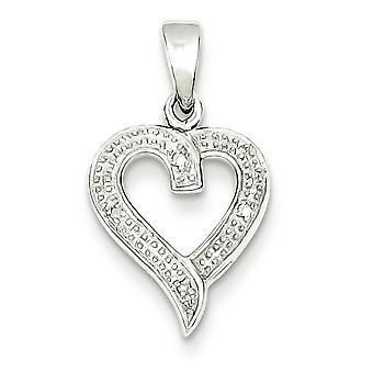 Sterling Silver Rhodium Diamond Heart Pendant - .01 cwt