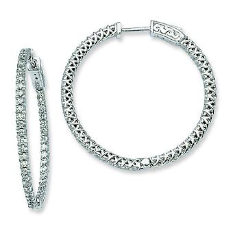 Sterling Silver Hinged Polished Prong set Safety clasp Rhodium-plated Cubic Zirconia Round Hoop Earrings