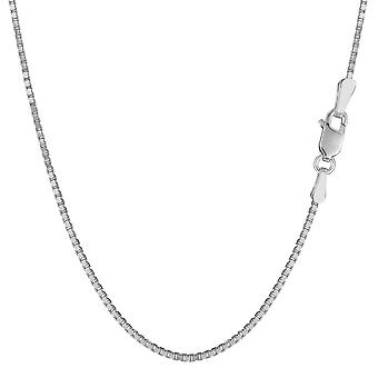 14k White Gold Classic Mirror Box Chain Necklace, 1.2mm