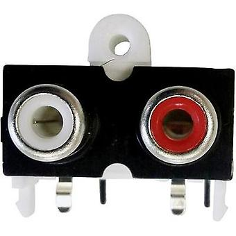 RCA connector Socket, horizontal mount Number of pins: 2 Gold, Red, White BKL Electronic 72382 1 pc(s)