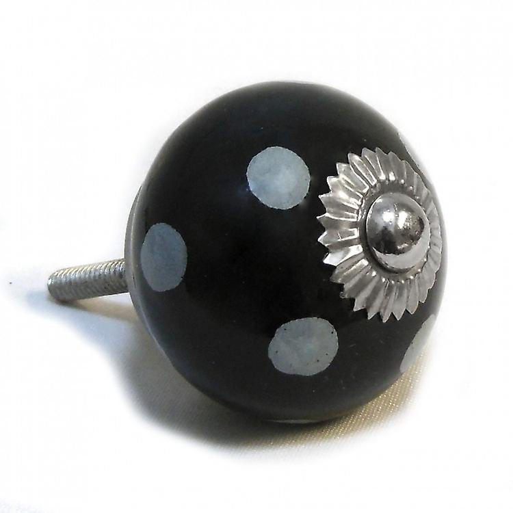 Black / White Spots Ceramic Cupboard Knob