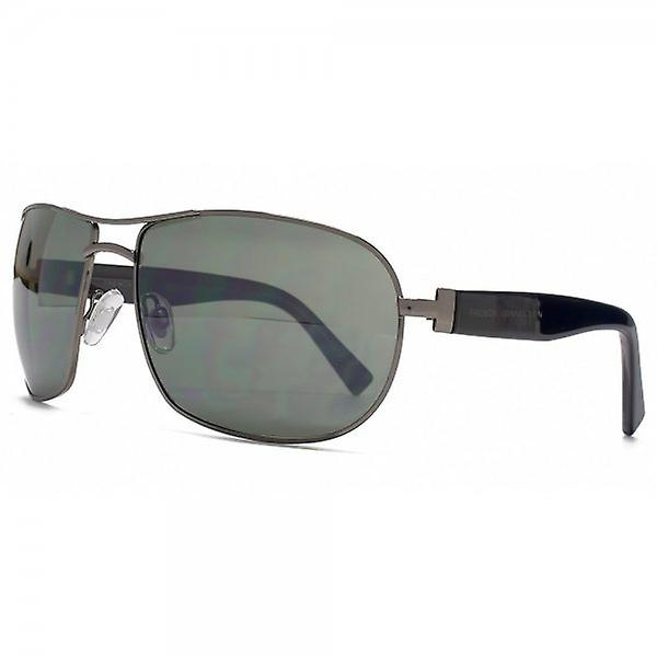 French Connection Large Metal Aviator Sunglasses In Dark Gunmetal