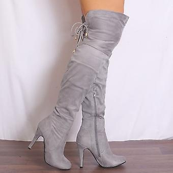 Shoe Closet Ladies Shaba3 Grey Over The Knee High Heels Stilettos Boots