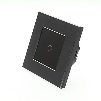 I LumoS Black Brushed Aluminium 1 Gang 1 Way Touch LED Light Switch Black Insert