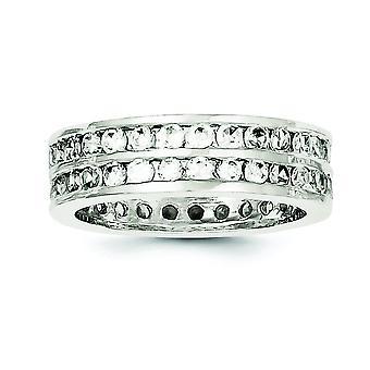 Solid Sterling Zilver gepolijst Cubic Zirkonia Ring - Ringmaat: 6 tot 8