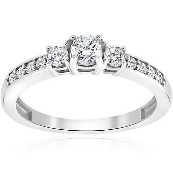 3/4ct Three Stone Round Diamond Engagement Ring 14K White Gold