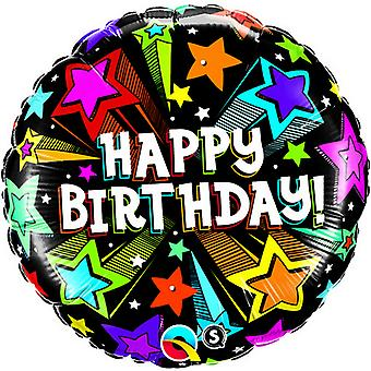 Qualatex 18 Inch Shooting Stars Round Happy Birthday Foil Balloon