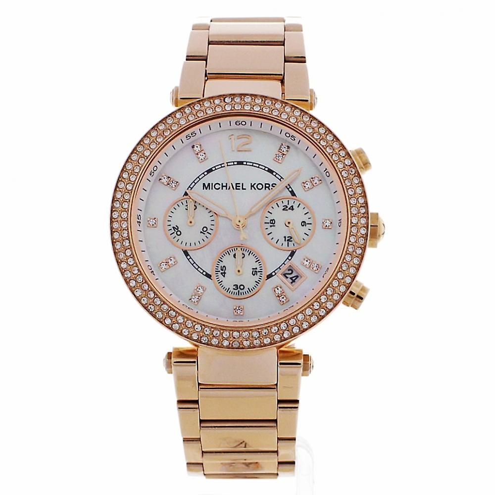 Michael Kors Watches Mk5491 Parker Ladies Rose Gold Mother Of Pearl Chronograph Watch