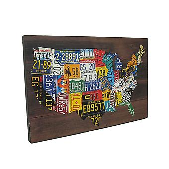خريطة الولايات المتحدة الأمريكية لوحات الطباعة الخشبية معلقة الجدار