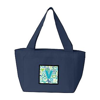 Buchstabe V Blumen und Schmetterlinge-Petrol / blau Lunch-Bag