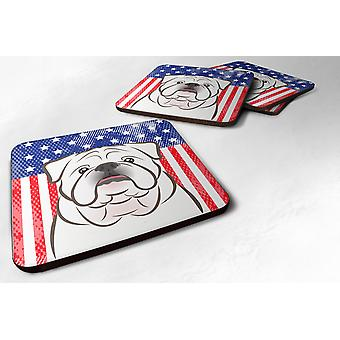 Set of 4 American Flag and White English Bulldog  Foam Coasters