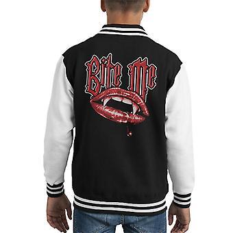 Bite Me Vampire Fangs Kid's Varsity Jacket