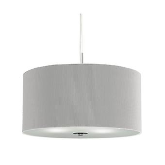 Drum Pleat Small Chrome Pendant With Glass Diffuser And Grey Shade - Searchlight 2353-40si