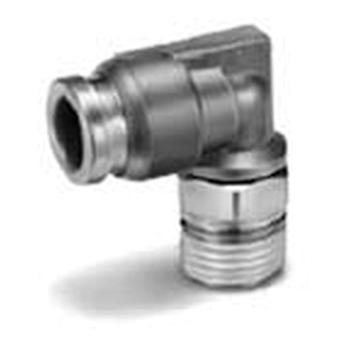 SMC Pneumatic Elbow Threaded-To-Tube Adapter, R 1/4 Male, Push In 10 Mm