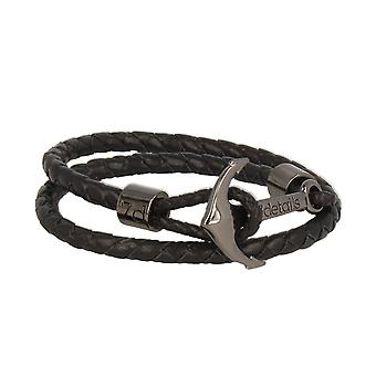 7details premium leather anchor black bracelet with anchor in graphite grey hand work from Spain